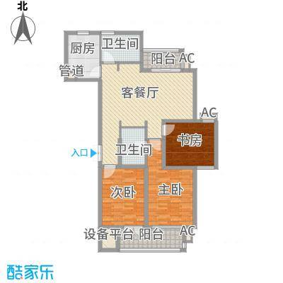 澜郡145.56㎡一期一幢标准层C6户型3室2厅2卫1厨