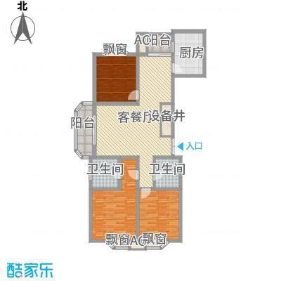 澜郡146.44㎡一期1幢标准层C1户型3室2厅2卫1厨