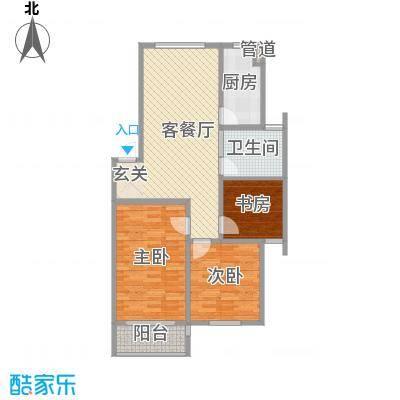 金东城雅居107.00㎡2期8、10#标准层C户型3室2厅1卫1厨