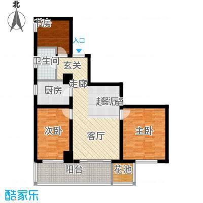 澳林广场6号公馆121.02㎡A1户型121.02(东)户型3室2厅1卫