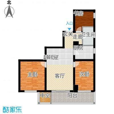 澳林广场6号公馆120.22㎡A户型120.22(西)户型3室2厅1卫