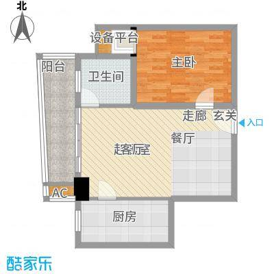 澳林广场6号公馆76.01㎡D户型76.01(西)户型1室2厅1卫
