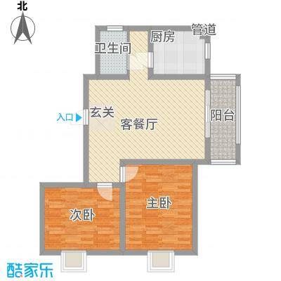 大华锦绣华城90.00㎡三期13#楼标准层E1户型2室2厅1卫1厨