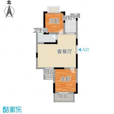 滨河御景92.33㎡b3户型92.33平米户型2室2厅1卫1厨