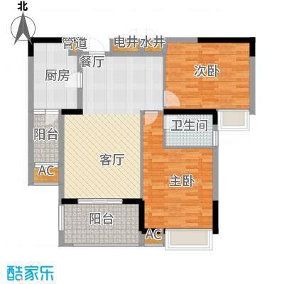 秦淮绿洲别墅91.00㎡三期小高层E2户型2室2厅1卫1厨