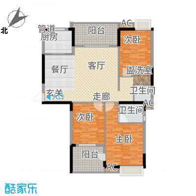 秦淮绿洲别墅139.00㎡三期小高层E3户型3室2厅2卫1厨