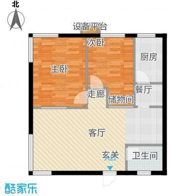 博客雅居86.85㎡B蝴蝶户型2室2厅1卫1厨