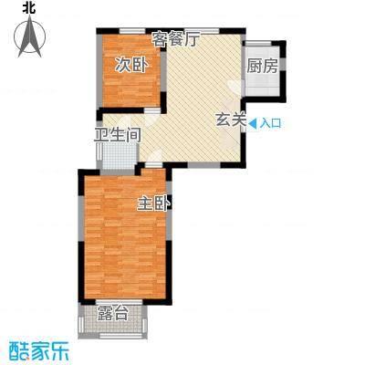 武夷水岸家园88.32㎡B2户型2室2厅1卫1厨