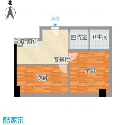 胜泰华府62.30㎡2号楼标准层C户型2室1厅1卫1厨