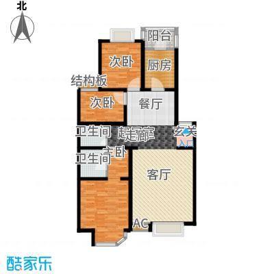 灵秀山庄三期户型3室2厅2卫1厨