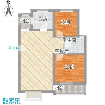 江山星汉城F型户型2室2厅1卫1厨