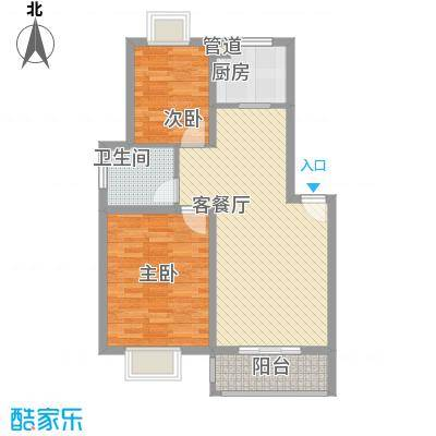 江山星汉城D型户型2室2厅1卫1厨