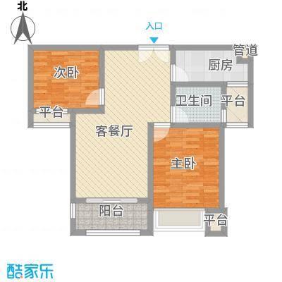 莱蒙水榭春天88.00㎡B户型(88-90㎡)家配图户型2室2厅1卫1厨