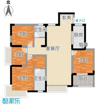 兰亭苑145.65㎡二期07幢标准层L户型4室2厅2卫1厨