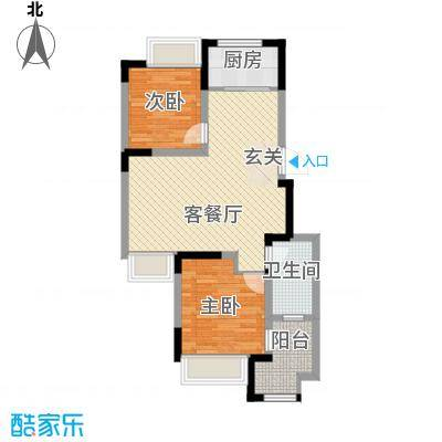 兰亭苑83.01㎡二期10幢标准层J户型2室2厅1卫1厨