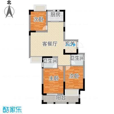 兰亭苑121.82㎡二期08幢标准层G户型3室2厅1卫1厨