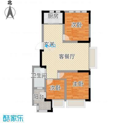 兰亭苑99.40㎡二期10幢标准层I户型3室2厅1卫1厨