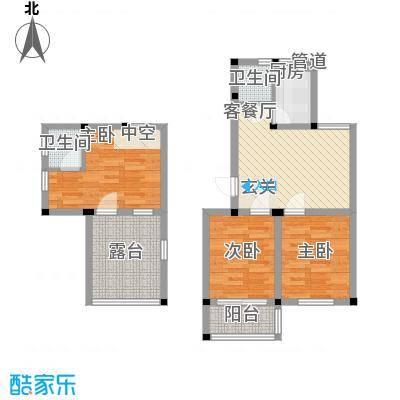 百悦家花园95.00㎡二期跃层95㎡3室2厅2卫户型3室2厅1卫1厨