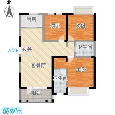兰亭苑125.65㎡1#、2#标准层A户型3室2厅2卫