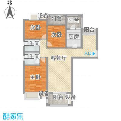 银江花园119.60㎡一期1、3号楼标准层E2户型4室2厅2卫1厨