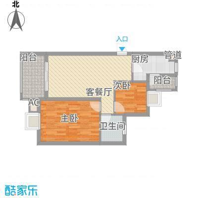 银江花园76.70㎡一期4号楼标准层G5户型3室2厅1卫1厨