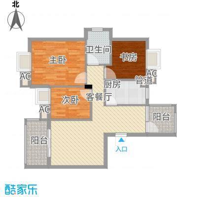 银江花园100.70㎡一期4号楼标准层G6户型3室2厅1卫1厨