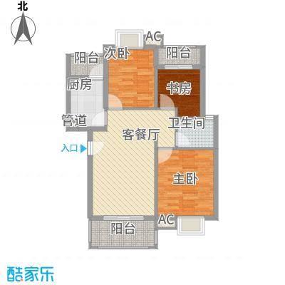 银江花园93.00㎡9、10幢标准层D1户型3室2厅1卫1厨