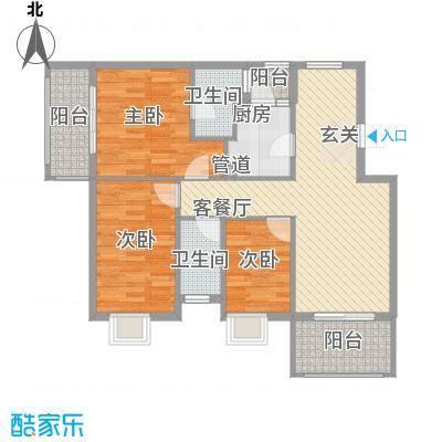 银江花园112.00㎡一期4号楼标准层G4户型3室2厅2卫1厨