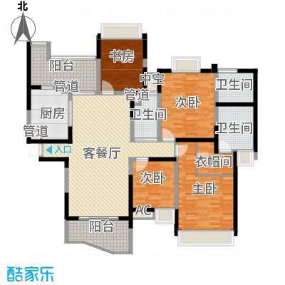 雅居乐藏龙御景182.00㎡项目标准层F-02户型4室2厅3卫1厨
