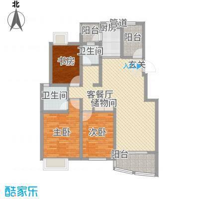 兴地美利广场122.52㎡二期2号楼A10户型3室2厅1卫1厨