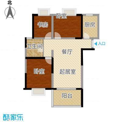 北江锦城94.43㎡二期B14幢标准层Gc3户型1室1卫1厨