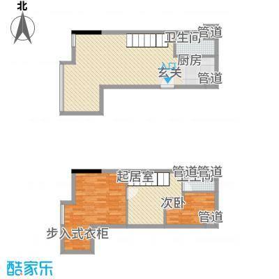 七彩幸福里52.75㎡B栋标准层E3户型3室2厅2卫1厨