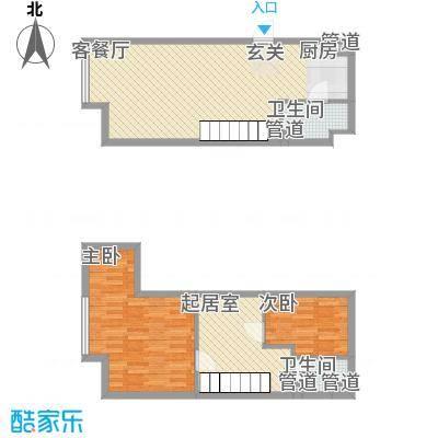 七彩幸福里51.00㎡B栋标准层E4户型3室2厅2卫1厨