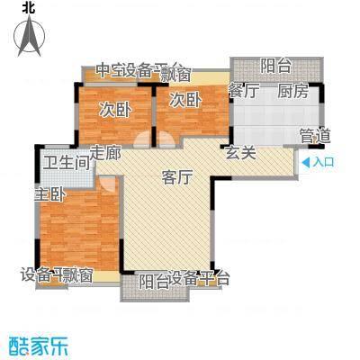 金浦名城世家114.38㎡二期铭庭5#标准层D2户型3室2厅1卫1厨