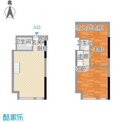 七彩幸福里43.49㎡B栋标准层E1户型2室2厅2卫1厨