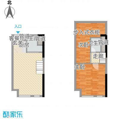 七彩幸福里42.43㎡B栋标准层E2户型2室2厅2卫1厨