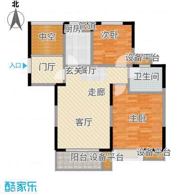 金浦名城世家78.15㎡一期01幢标准层B2户型2室2厅1卫1厨