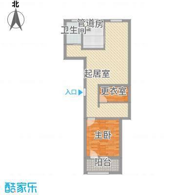 朗诗绿色街区88.00㎡二期20、30栋标准层B户型2室2厅1卫1厨