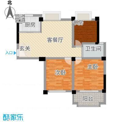 名门世家96.10㎡二期小高层B3户型三房户型3室2厅1卫1厨
