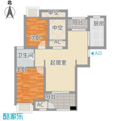 昆山香溢紫郡89.00㎡一期6号楼、8号楼、9号楼A1户型2室2厅1卫1厨