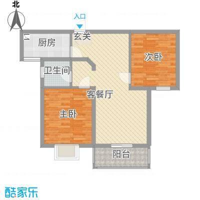 逸景湾89.51㎡二期5#楼玫瑰之约户型2室2厅1卫1厨