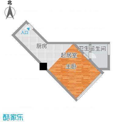 逸景湾54.70㎡1#楼08、09室户型1室1厅1卫1厨