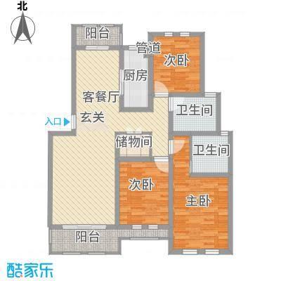 衡山城129.00㎡E-1型 已售完户型3室2厅2卫1厨