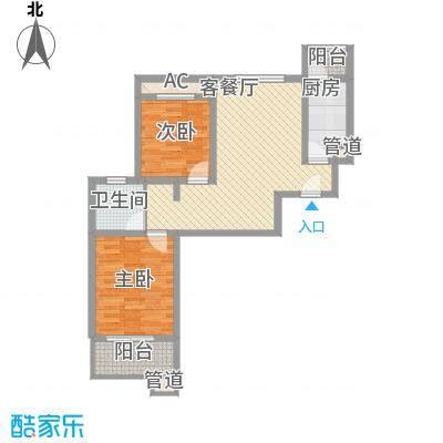 武夷绿洲80.00㎡四期1-10号楼标准层B2户型2室2厅1卫1厨