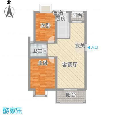 爱涛天逸园85.62㎡一期5栋1-6层B2户型2室2厅1卫1厨