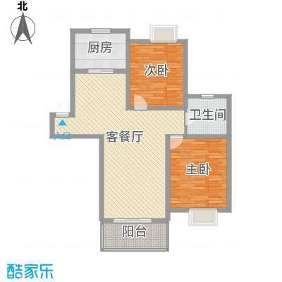 琴韵华庭97.20㎡二期7幢1-5层C1户型2室2厅1卫1厨