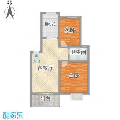 琴韵华庭85.68㎡二期9、20幢1-4层A1户型2室2厅1卫1厨