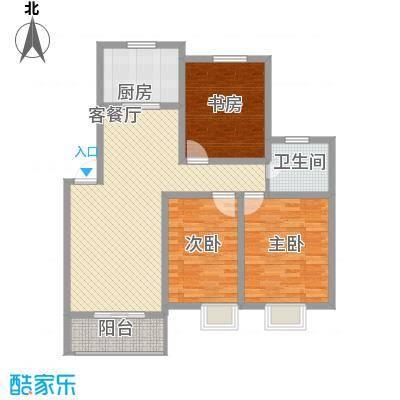 琴韵华庭110.74㎡二期9、20幢1-4层H户型3室2厅1卫1厨