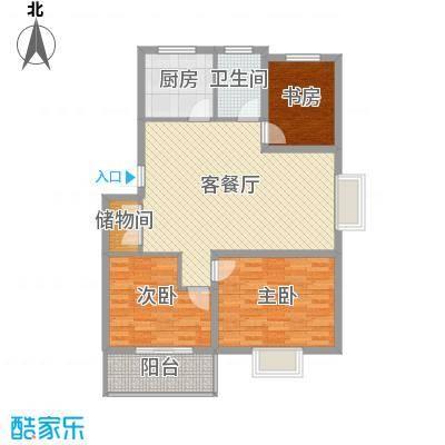 琴韵华庭101.80㎡二期10幢1-5层E1户型3室2厅1卫1厨