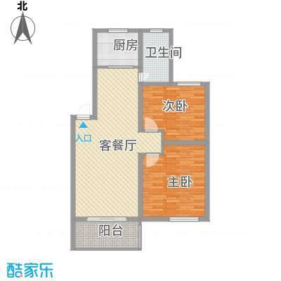 琴韵华庭86.83㎡二期10、22幢1-4层B1户型2室2厅1卫1厨